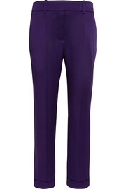 Satin-crepe straight-leg pants