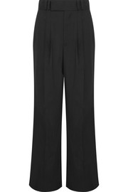 Wool-blend crepe wide-leg pants