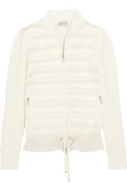 Moncler Cotton-jersey and quilted shell down jacket