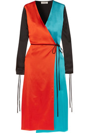 Grace color-block satin wrap dress