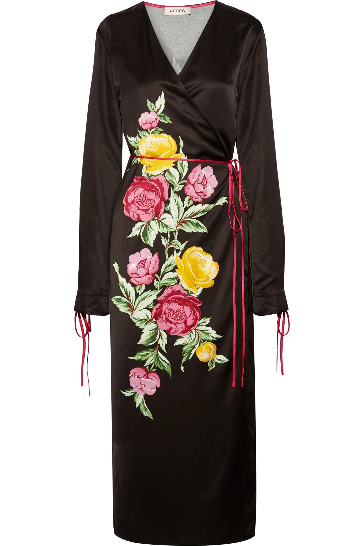 The Attico Grace floral-print satin wrap midi dress