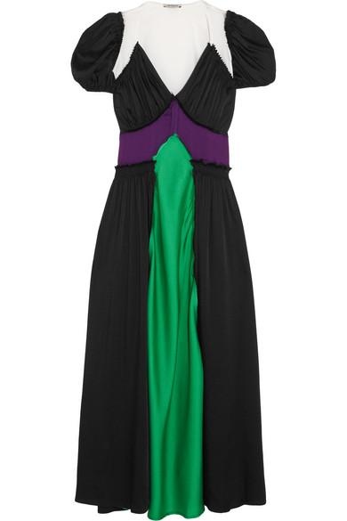 Carlotta Color-Block Satin Maxi Dress, Multicolour