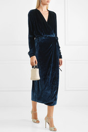 Crushed-velvet wrap midi dress