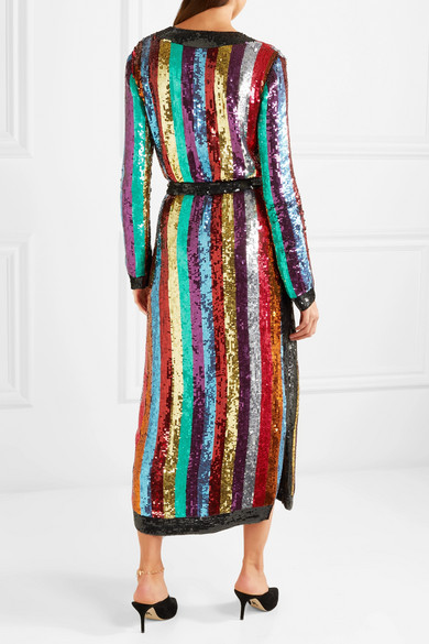 Attico. Grace striped sequined georgette wrap dress. $1,402.50. Play