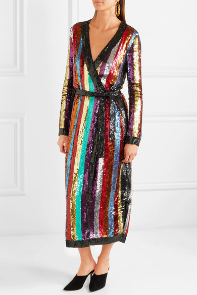 Attico Grace Striped Sequined Georgette Wrap Dress Net