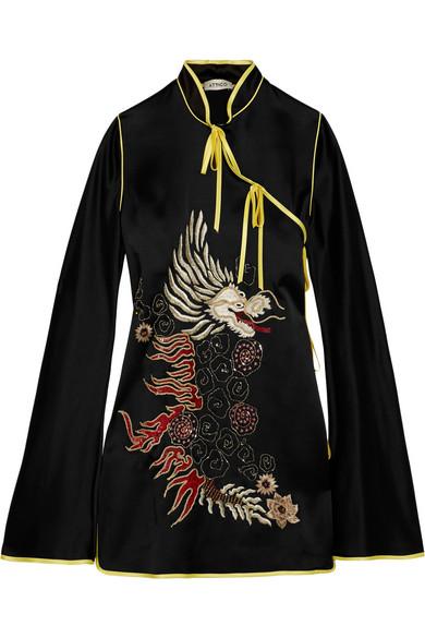 Attico - Stella Embellished Satin Wrap Dress - Black