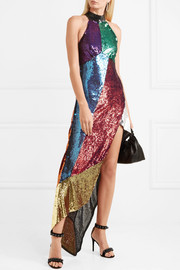 Alice asymmetric sequined tulle midi dress