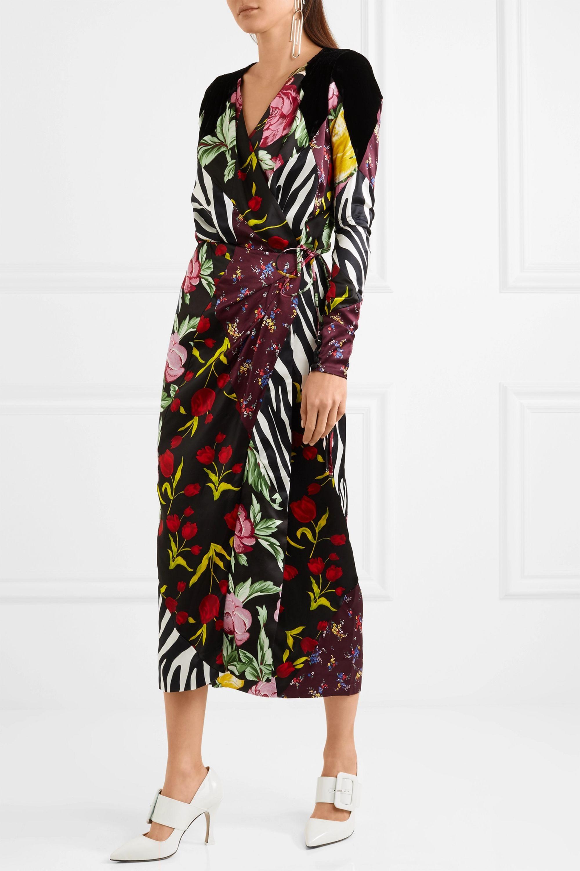 The Attico Velvet-trimmed paneled printed satin wrap midi dress