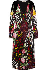 Velvet-trimmed paneled printed satin wrap midi dress