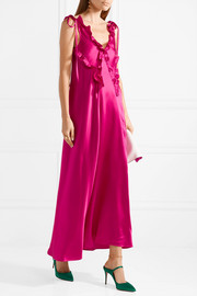 Carla ruffle-trimmed washed-satin dress