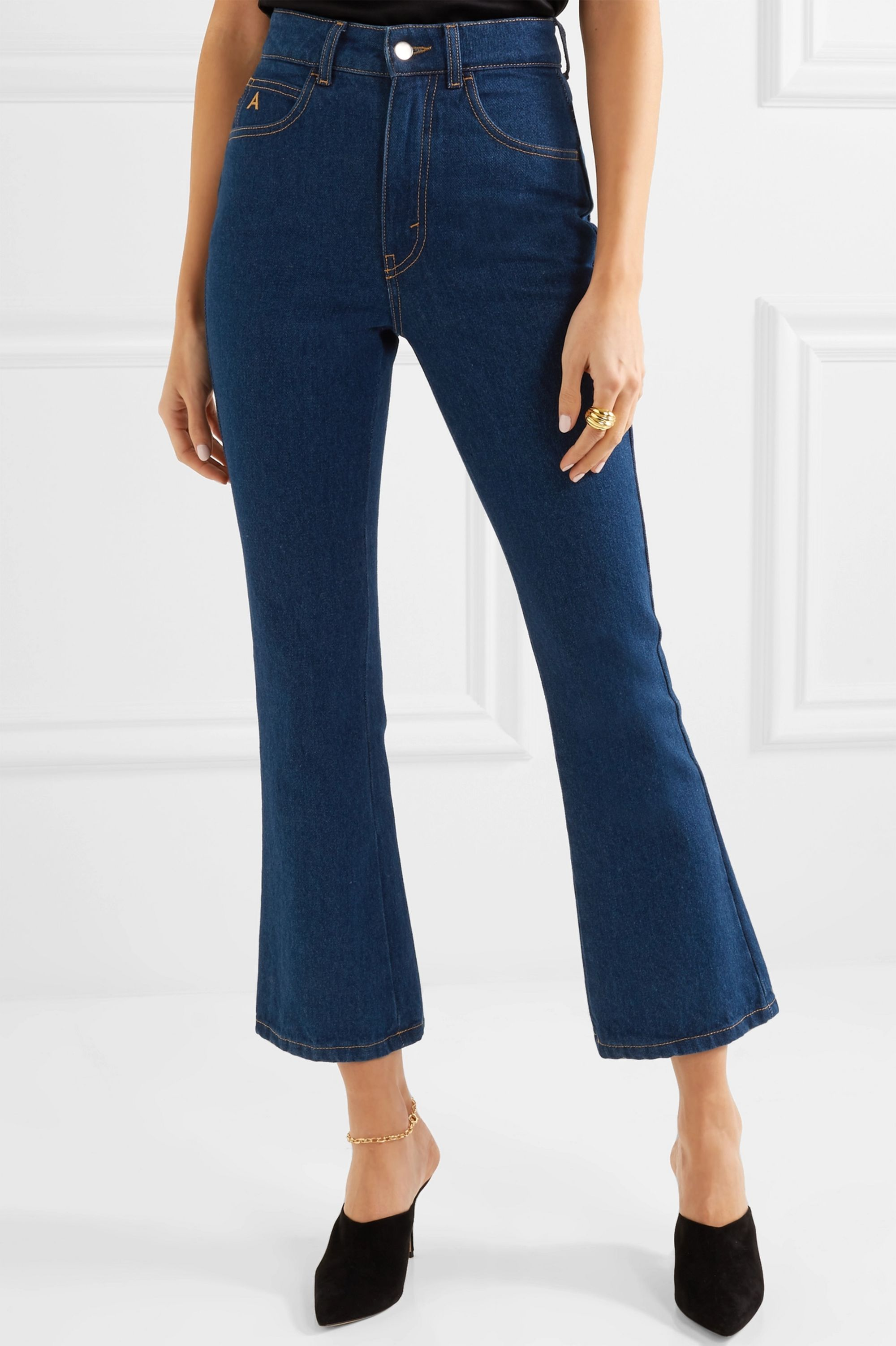 The Attico Cropped high-rise flared jeans