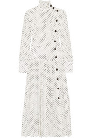 Pleated polka-dot silk crepe de chine midi dress