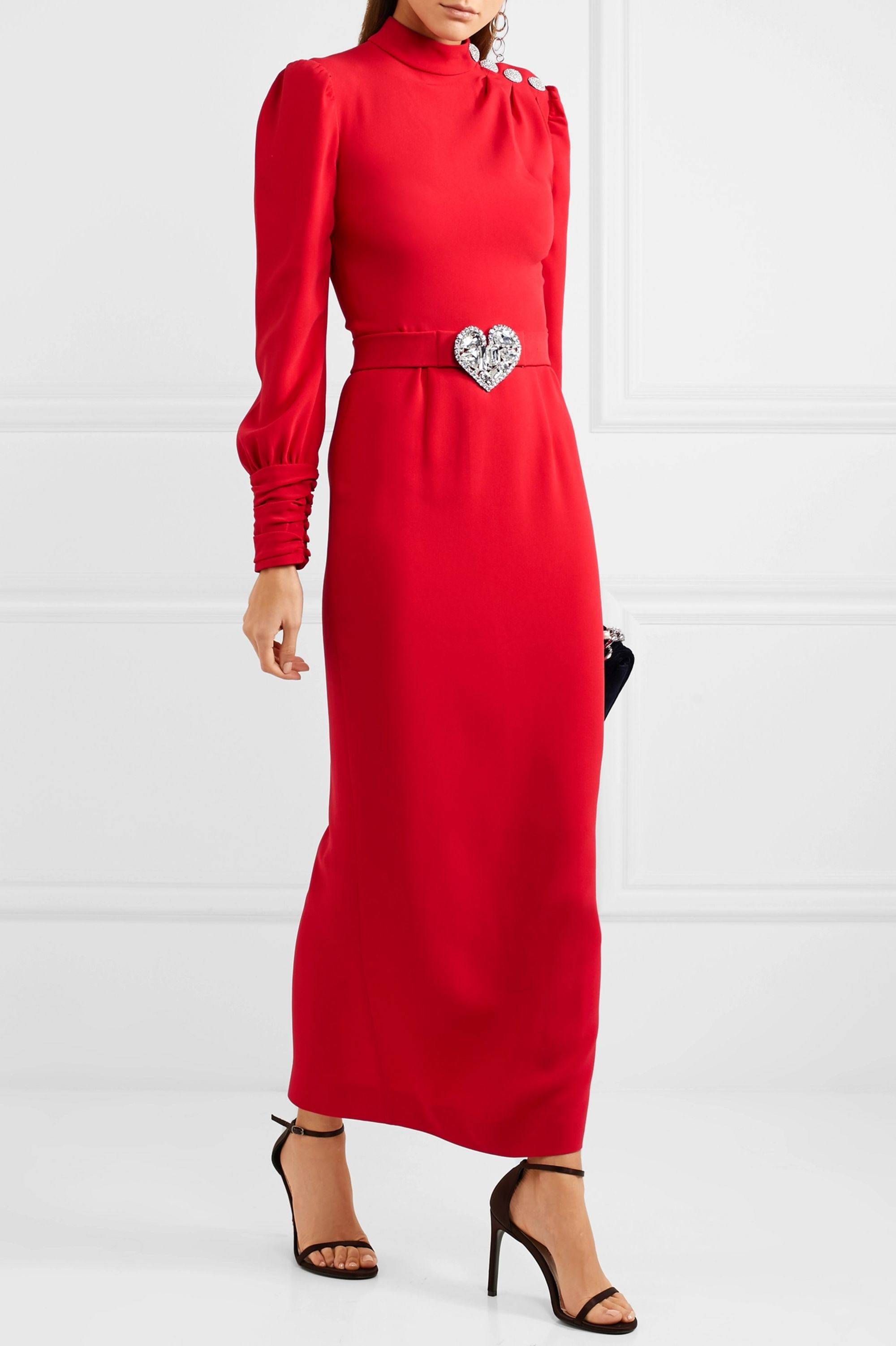 Alessandra Rich Crystal-embellished crepe gown