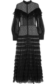 Alessandra Rich Ruffled tiered lace gown