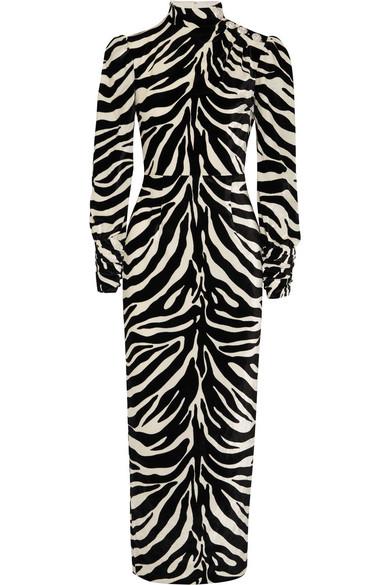 Alessandra Rich - Crystal-embellished Zebra-print Velvet Gown - Zebra print