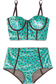 Alessandra Rich Floral-print velour and stretch-tulle lingerie set