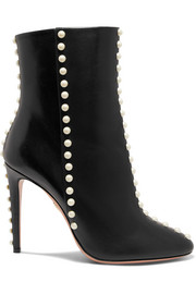 Aquazzura Bottines en cuir Follie Pearls