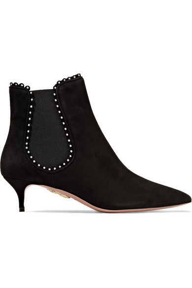 Aquazzura - Jicky Faux Pearl-embellished Suede Ankle Boots - Black