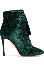 Aquazzura Almaty lace-up embroidered crushed-velvet ankle boots