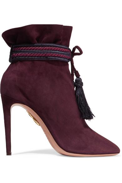 Aquazzura - Shanty Tasseled Suede Ankle Boots - Burgundy