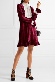 To the One I Love lace-trimmed crushed-velvet mini dress