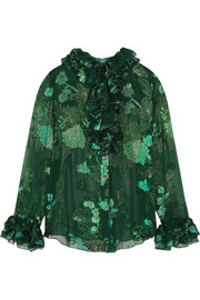 Iridescent Moonlight Garden fil coupé silk-blend chiffon blouse