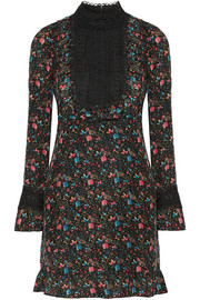 Anna Sui Lace-paneled printed silk-blend jacquard mini dress