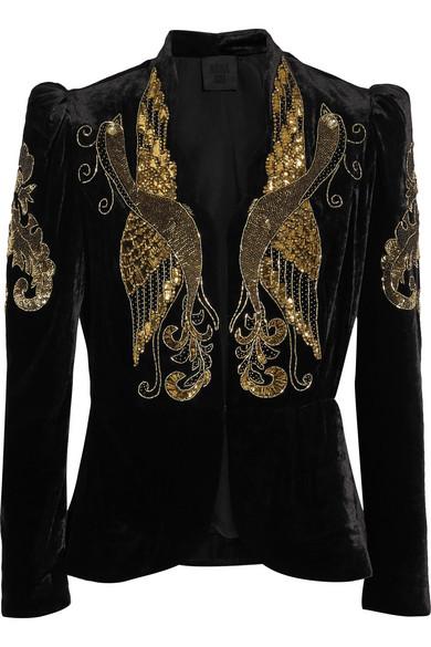 Anna Sui - Phoenix Embellished Velvet Jacket - Black