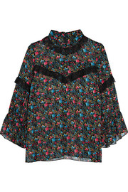Anna Sui Lace-trimmed floral-print silk-chiffon blouse