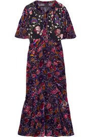 Anna Sui Devoré-chiffon and embroidered tulle midi dress