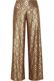 Metallic devoré-chiffon wide-leg pants