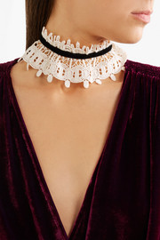 Anna Sui Natural corded cotton-lace and velvet choker