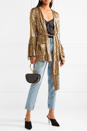 Anna Sui Fringed metallic devoré-chiffon wrap top