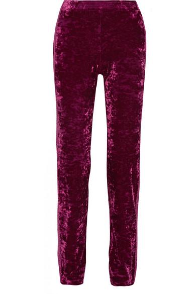 Anna Sui - Starburst Metallic-trimmed Crushed-velvet Track Pants - Plum