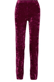 Starburst metallic-trimmed crushed-velvet track pants