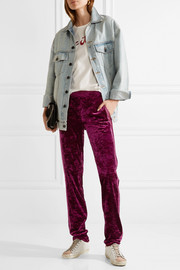 Anna Sui Starburst metallic-trimmed crushed-velvet track pants