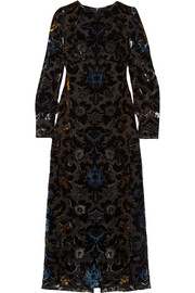 Devoré velvet maxi dress
