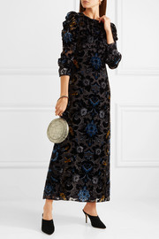 Anna Sui Devoré velvet maxi dress