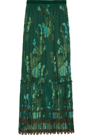 Iridescent Moonlight Garden fil coupé silk-blend chiffon skirt