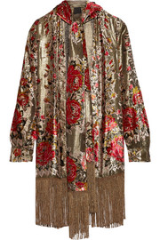 Anna Sui Fringed flocked lamé jacket