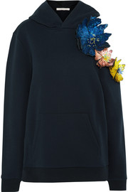 Christopher Kane Embellished appliquéd cotton-jersey hooded top
