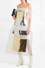 Christopher Kane Sequined organza and hammered silk-satin top