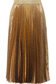Pleated silk-blend lamé midi skirt