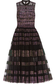 Christopher Kane Metallic lace-paneled tulle midi dress
