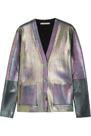 Christopher Kane Iridescent ribbed jersey cardigan