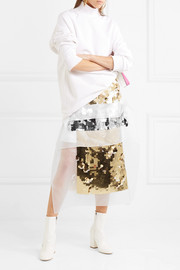 Christopher Kane Sequined organza and hammered silk-satin midi skirt