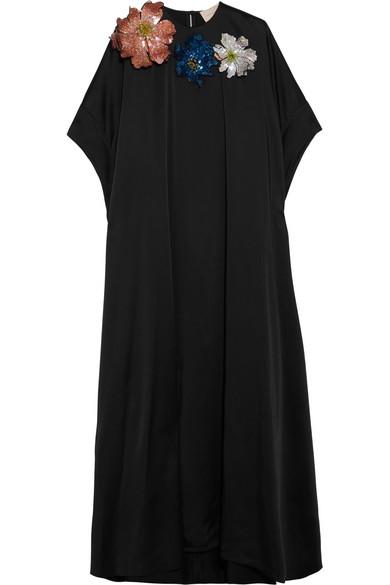 Christopher Kane - Embellished Appliquéd Satin Maxi Dress - Black