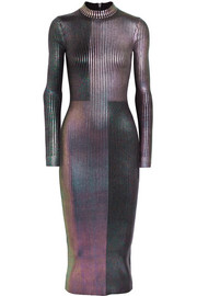 Christopher Kane Metallic ribbed-knit midi dress