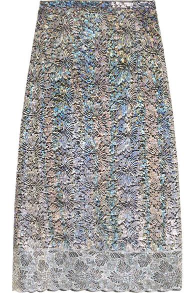 Christopher Kane - Metallic Lace Midi Skirt - Silver