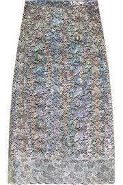 Christopher Kane Metallic lace midi skirt